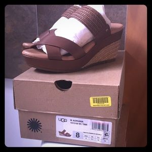 UGG Leather and Straw Wedge Sandal in Brown